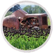 Woodburn Oregon - Tractor And Field Of Tulips Round Beach Towel