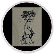Woodcut Deer Round Beach Towel