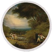 Woodcutters In Windsor Park Round Beach Towel