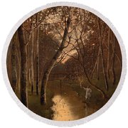Wooded Landscape With Angler On The Riverside Round Beach Towel