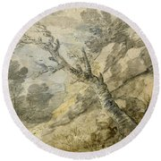Wooded Landscape With Rocks And Tree Stump Round Beach Towel