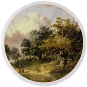 Wooded Landscape With Woman And Child Walking Down A Road  Round Beach Towel