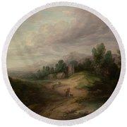 Wooded Upland Landscapewooded Upland Landscape By Thomas Gainsborough, Circa 1783 Round Beach Towel