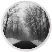 Wooded Winter Road Round Beach Towel