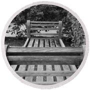 Wooden Bench Round Beach Towel