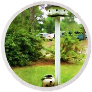 Wooden Bird House On A Pole 6 Round Beach Towel by Lanjee Chee