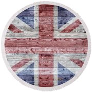 Wooden Boards United Kingdom Round Beach Towel