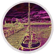 Wooden Boat Moorage Round Beach Towel