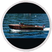 Wooden Boat Waves On Tahoe Round Beach Towel