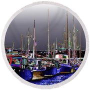 Wooden Boats 2 Round Beach Towel