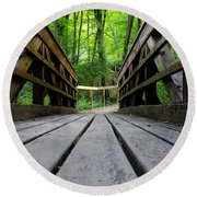 Wooden Bridge Round Beach Towel
