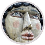 Wooden Carving In Santa Fe 8 Round Beach Towel