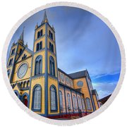 Wooden Cathedral  Round Beach Towel