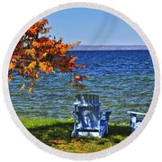 Wooden Chairs On Autumn Lake Round Beach Towel