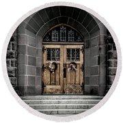 Wooden Church Door In Stone Archway Round Beach Towel