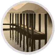 Wooden Dock In The Lake At Sunset Round Beach Towel