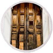 Wooden Door 1 Round Beach Towel