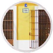 Wooden Doors In Old San Juan, Puerto Rico Round Beach Towel