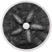 Wooden Fan Round Beach Towel