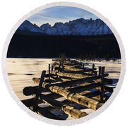 Wooden Fence And Sawtooth Mountain Range Round Beach Towel