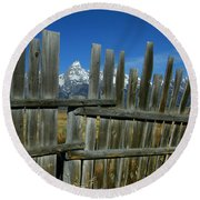 Wooden Fence, Grand Tetons Round Beach Towel