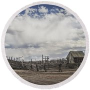 Wooden Fenced Corral Out West Round Beach Towel