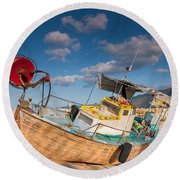 Wooden Fishing Boat On Shore Round Beach Towel