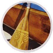 Wooden Paddle And Canoe Round Beach Towel