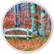 Wooden Park Bench In Dry Leaves  Round Beach Towel