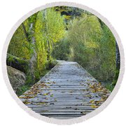 Wooden Path Round Beach Towel