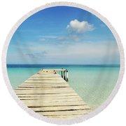 Wooden Pier On A Perfect Tropical Caribbean White Sand Beach Round Beach Towel