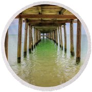 Wooden Pier Stretching Into The Sea Round Beach Towel