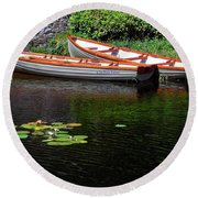 Wooden Rowboats Round Beach Towel