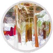 Wooden Shed In Winter Round Beach Towel