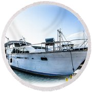 Wooden Yacht In Mooring Round Beach Towel