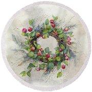 Woodland Berry Wreath Round Beach Towel