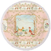 Woodland Fairy Tale - Blush Pink Forest Gathering Of Woodland Animals Round Beach Towel