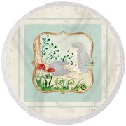Woodland Fairy Tale - Woodchucks In The Forest W Red Mushrooms Round Beach Towel