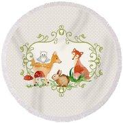 Woodland Fairytale - Grey Animals Deer Owl Fox Bunny N Mushrooms Round Beach Towel