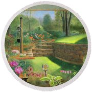 Woodland Garden In A Small Town Round Beach Towel