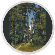Woodland Grove Round Beach Towel