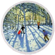 Woodland In Winter Round Beach Towel