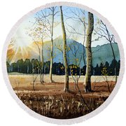 Woodland Sunset Round Beach Towel