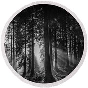 Woodland Walks Silver Rays B/w Round Beach Towel