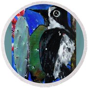 Woodpecker With Prickly Pear Cactus  Round Beach Towel