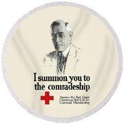 Woodrow Wison Red Cross Roll Call Round Beach Towel