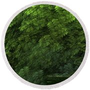 Woods And Stream Round Beach Towel
