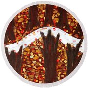 Woods In Autumn Round Beach Towel
