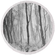 Woods In Mist, Stagshaw Common Round Beach Towel