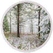Woods In Winter At Retzer Nature Center  Round Beach Towel